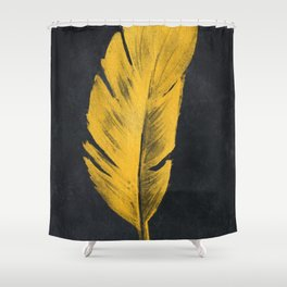 Gold feather #feather #gold Shower Curtain