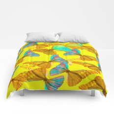 Butterflies - turquoise wings - yellow background #Society6 #buyart Comforters