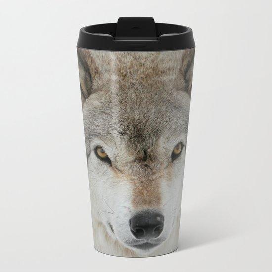 Wolf Portrait Metal Travel Mug