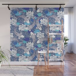Blue Koi Ripples Wall Mural