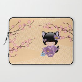 Japanese Neko Kokeshi Doll V2 Laptop Sleeve