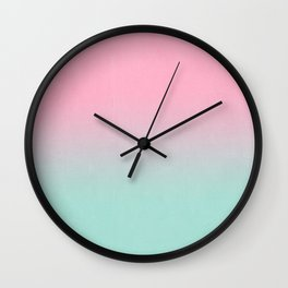 Resti - abstract minimal painting pastel pink mint ombre fade trendy decor colorways Wall Clock