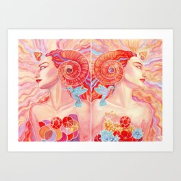 Double Aries Art Print
