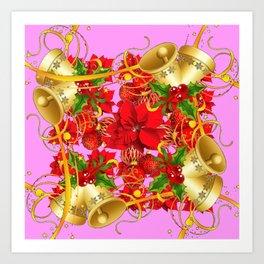 FESTIVE  GOLD BELLS PINK-RED CHRISTMAS ART Art Print