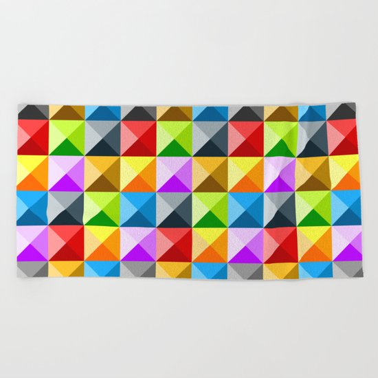 Colorful quarter square triangle pattern Beach Towel
