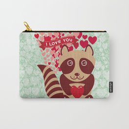 funny raccoon with red heart. I love you Carry-All Pouch