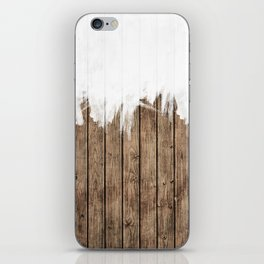 White Abstract Paint on Brown Rustic Striped Wood iPhone Skin