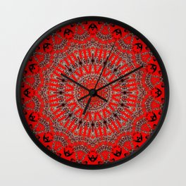 Rich Red Vintage Mandala Wall Clock