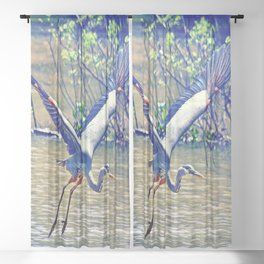 Flying (Blue Heron) Sheer Curtain