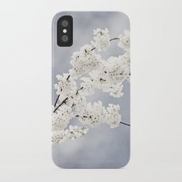 Floral Spring Nature Photography, Blue Grey White Flower Branches iPhone Case
