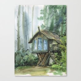 Cabin in the forest Canvas Print