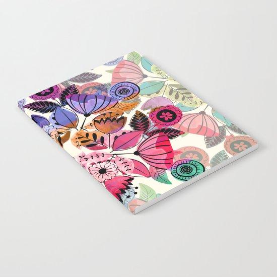Pink and indigo flower pattern Notebook