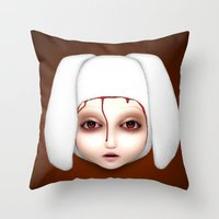 misfits Throw Pillows featuring Misfit - Alicia by Raymond Sepulveda