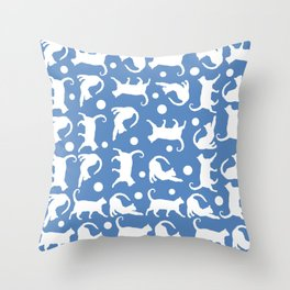 Cats Stretching: CHIN BLUE Throw Pillow