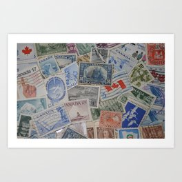 Canadian Pride Vintage Postage Stamp Collection From Canada Art Print