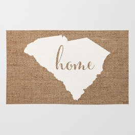 South Carolina is Home - White on Burlap Rug