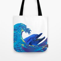 hokusai Tote Bags featuring Hokusai Rainbow & Dolphin by FACTORIE