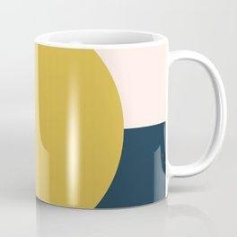 Horizon. Mustard Yellow Sun Dot on Pale Blush Pink and Navy Blue Color Block. Minimalist Geometric Coffee Mug