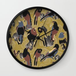 Birds of Prey in Gold Wall Clock
