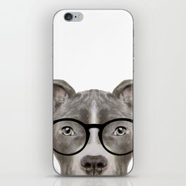 Pit bull with glasses Dog illustration original painting print iPhone Skin