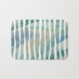 Banksia Leaf Lines in Blue and Butter Bath Mat