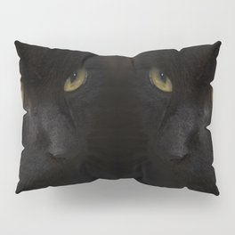 Black cat with yellow eyes Pillow Sham