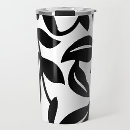 LEAF AND VINE SWIRL IN BLACK AND WHITE PATTERN Travel Mug