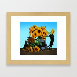 Cats with Sunflowers Framed Art Print
