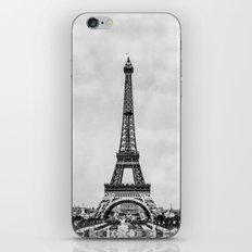 Eiffel tower, Paris France in black and white with painterly effect iPhone & iPod Skin