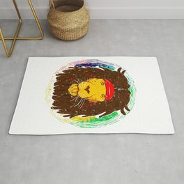 Cool Lion with Dreadlocks and Headband for Lion Lover Rug