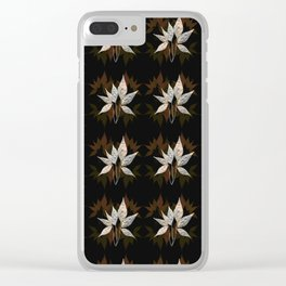 Silver On Brown And Green Leaves Pattern Clear iPhone Case