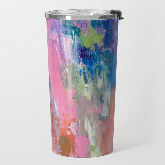 Lucky #13, a contemporary abstract in pinks and fuchsias Travel Mug