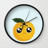 peach Wall Clocks featuring Peach by GarethAdamson