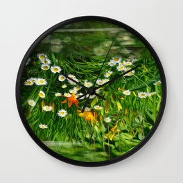 Upside Down Daisies Wall Clock