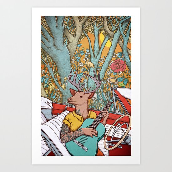 A ride and a song Art Print