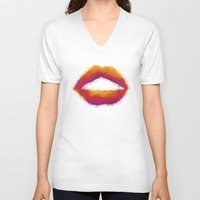 lips V-neck T-shirts featuring LIPS by LightCircle