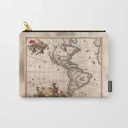 1658 Visscher Map of North & South America with enhancements Carry-All Pouch