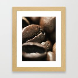 Coffee beans macro photo, fine art, still life, interior decoration, for bar & restaurant, Pub sign Framed Art Print