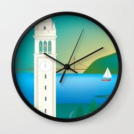 Berkeley, California - Skyline Illustration by Loose Petals Wall Clock