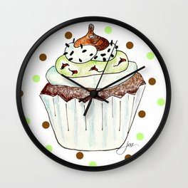 Chocolate Mint Cupcake Wall Clock