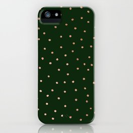 Forest green pink rose gold glitter polka dots iPhone Case