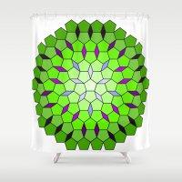 matrix Shower Curtains featuring Pentagon Matrix by Harvey Warwick