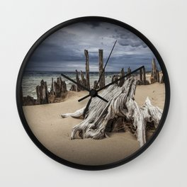 Tree Stump and Pilings on the Beach at Kirk Park by Grand Haven Michigan Wall Clock