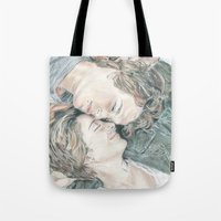 fault in our stars Tote Bags featuring THE FAULT IN OUR STARS by Melissa Bather