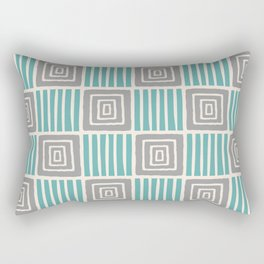 Retro Mid Century Modern Check Pattern 731 Turquoise and Gray Rectangular Pillow