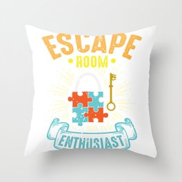 Escape Room Enthusiast Puzzle Game Adventure Throw Pillow