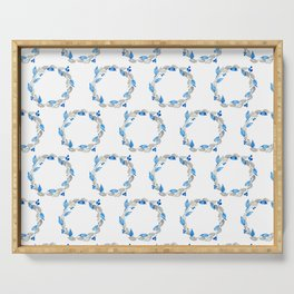 Blue and Gray Watercolor Leaf Wreath Serving Tray