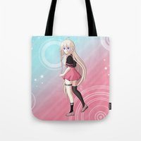 vocaloid Tote Bags featuring IA - VOCALOID Gakuen by Tenki Incorporated
