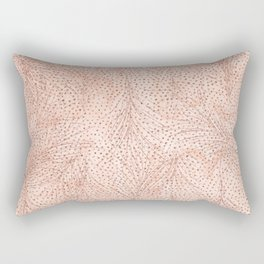 Blush pink watercolor rose gold feathers polka dots Rectangular Pillow
