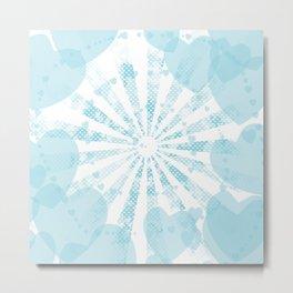 Pop art sky blue illustration on the background of hearts Metal Print
